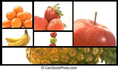 Assortment of Fruit and veg on a film reel -3 - A collage of...