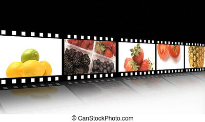 Assortment of Fruit and veg - A collage of fresh fruit in...
