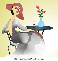 lonely woman -  a composition of a woman sitting at a table