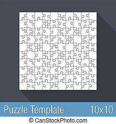Puzzle Template 10x10 - Square jigsaw puzzle template 10x10...