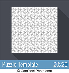 Puzzle Template 20x20 - Square jigsaw puzzle template 20x20...
