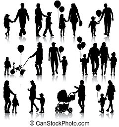 Black set of silhouettes of parents and children on white...