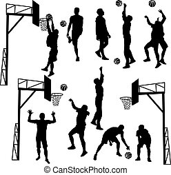 Black silhouettes of men playing basketball on a white background. Vector illustration.