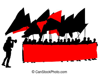 Anarchists people - People of anarchia with large flags