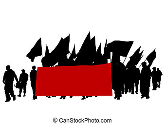 People whit flags - People of anarchia with large flags