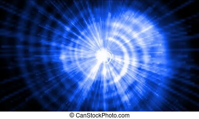 blue vortex space tunnel hole & rotation energy rays light.