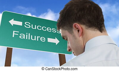 Success and failure sign - Businessman standing in front of...
