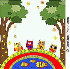 vector tree with funny owls