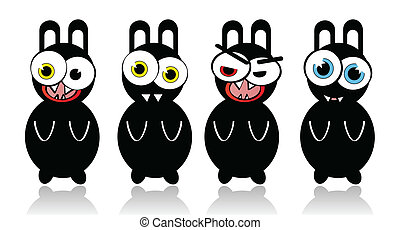 Crazy vector rabbits with different emotions