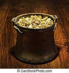 pote, cheio, Ouro, madeira, fundo