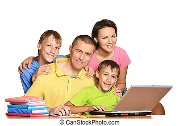 Help with homework - Happy parents helping boys with...