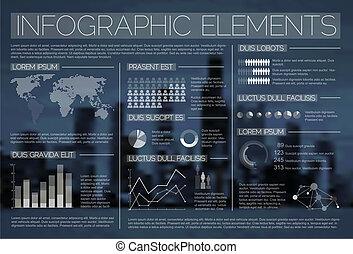 noche, transparente, vector, Conjunto, Infographic,...
