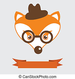 Fox in bowler hat and monocle, vintage style portrait -...