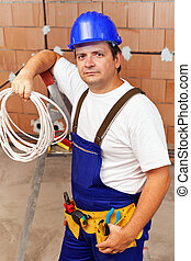 Electrician in a new building