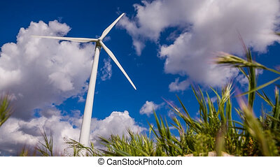 Front view of Wind turbine - Modern Wind turbine on a cloudy...