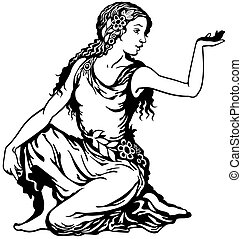 young woman black white - young woman, virgo astrological...