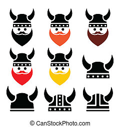 Viking warrior in helmet icons set - Ancient Viking icons...