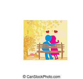 love in the park, autumn landscape