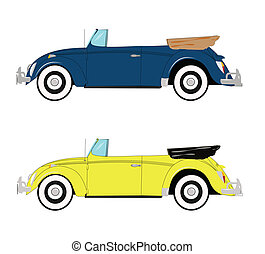 retro convertible german car  - the bug in popular colors