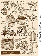 Hand drawn cafe items - Illustration of hand drawn such as...