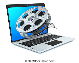 Film reel and laptop. Concept