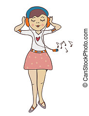Girl listening to music funny cartoon illustration