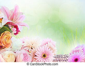 hermoso, Lilly, Gerber, rosas, flor, ramo, arreglo, col