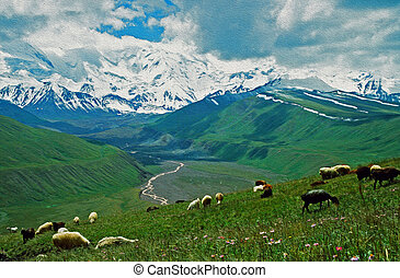 A photo of Alay valley, Kyrgystan, stylized and filtered to...