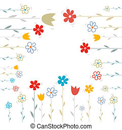 Vector Flowers Illustration on White Background