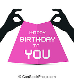 Hands Silhouette holding Pink Paper with Happy Birthday to...