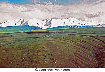 asian landscape - steppe, cattle silhouettes, nomad's yurtas...