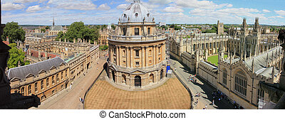 Panoramic, aerial view of Oxford with Radcliffe Camera, the...