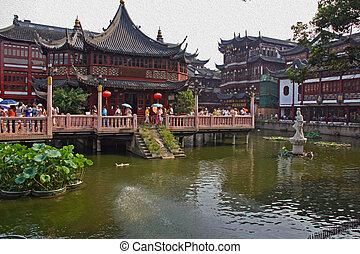 old city in Shanghai, China, oil paint stylization - Photo...