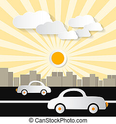 Paper Abstract Retro City Illustration with Buildings, Cars,...