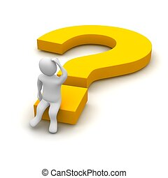 Thinking man and question mark. 3d rendered illustration.
