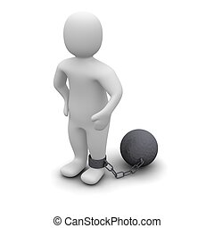Criminal with ball 3d rendered illustration isolated on...