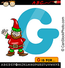 letter g with gnome cartoon illustration