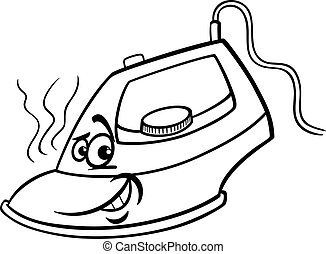 hot iron cartoon coloring page - Black and White Cartoon...