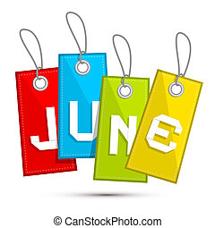 June Colorful Discount Sale Paper Label, Tag With Strings
