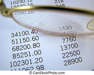 Financial Figures - Close-up of some financial figures and a...