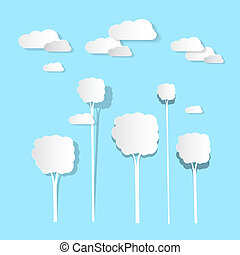 Paper Clouds and Trees on Blue Background