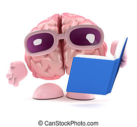 3d Brain reads a book - 3d render of a brain character...
