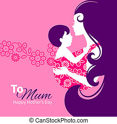 Beautiful mother silhouette with baby in a sling. Floral...