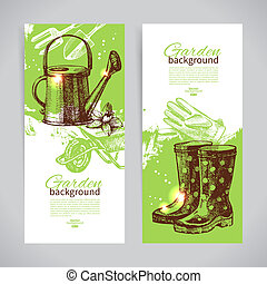 Set of sketch gardening banner templates Hand drawn vintage...