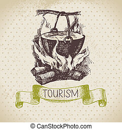 Vintage sketch tourism background. Hike and camping hand...