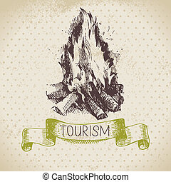 Vintage sketch tourism background Hike and camping hand...