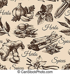 Seamless pattern of kitchen herbs and spices. Hand drawn...
