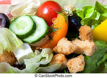 Fresh mixed salad background - tomato, cucmber, pepper,...