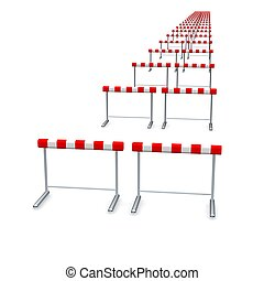 Hurdles in row 3d rendered illustration isolated on white