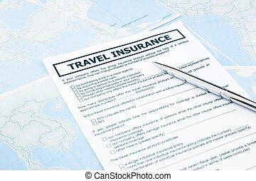 travel insurance form on world map